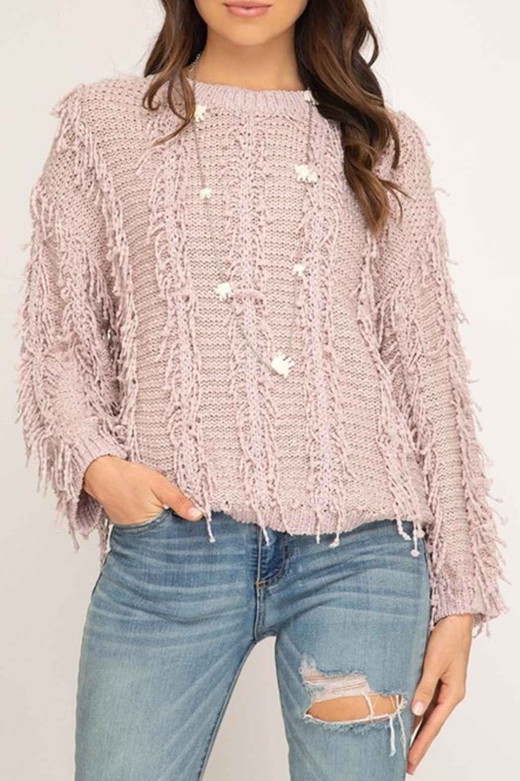 She Sky Fuzzy Fringe Sweater From Long Island By Epic Stores