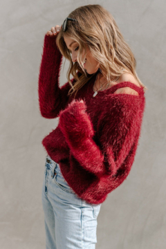 Lovestitch Fuzzy Keyhole Sweater - Product List Image