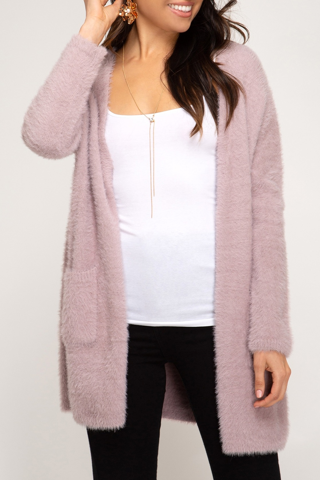 She + Sky Fuzzy Knit Cardigan - Main Image