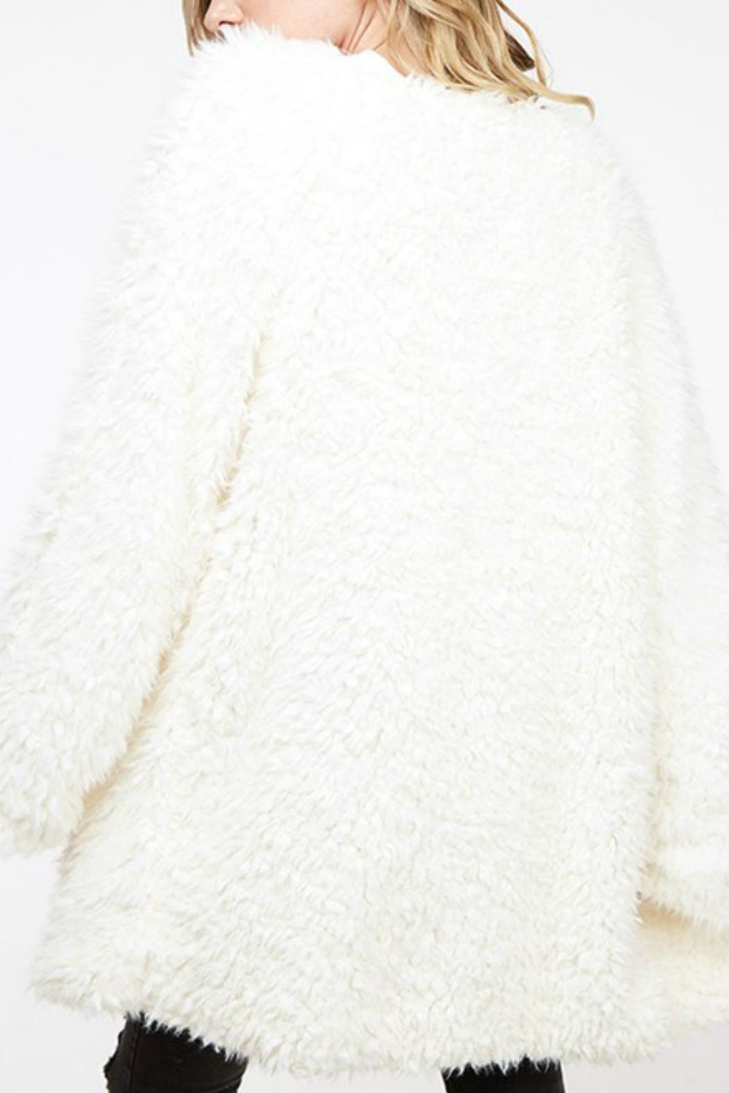 Fantastic Fawn Fuzzy Knit Coat - Back Cropped Image