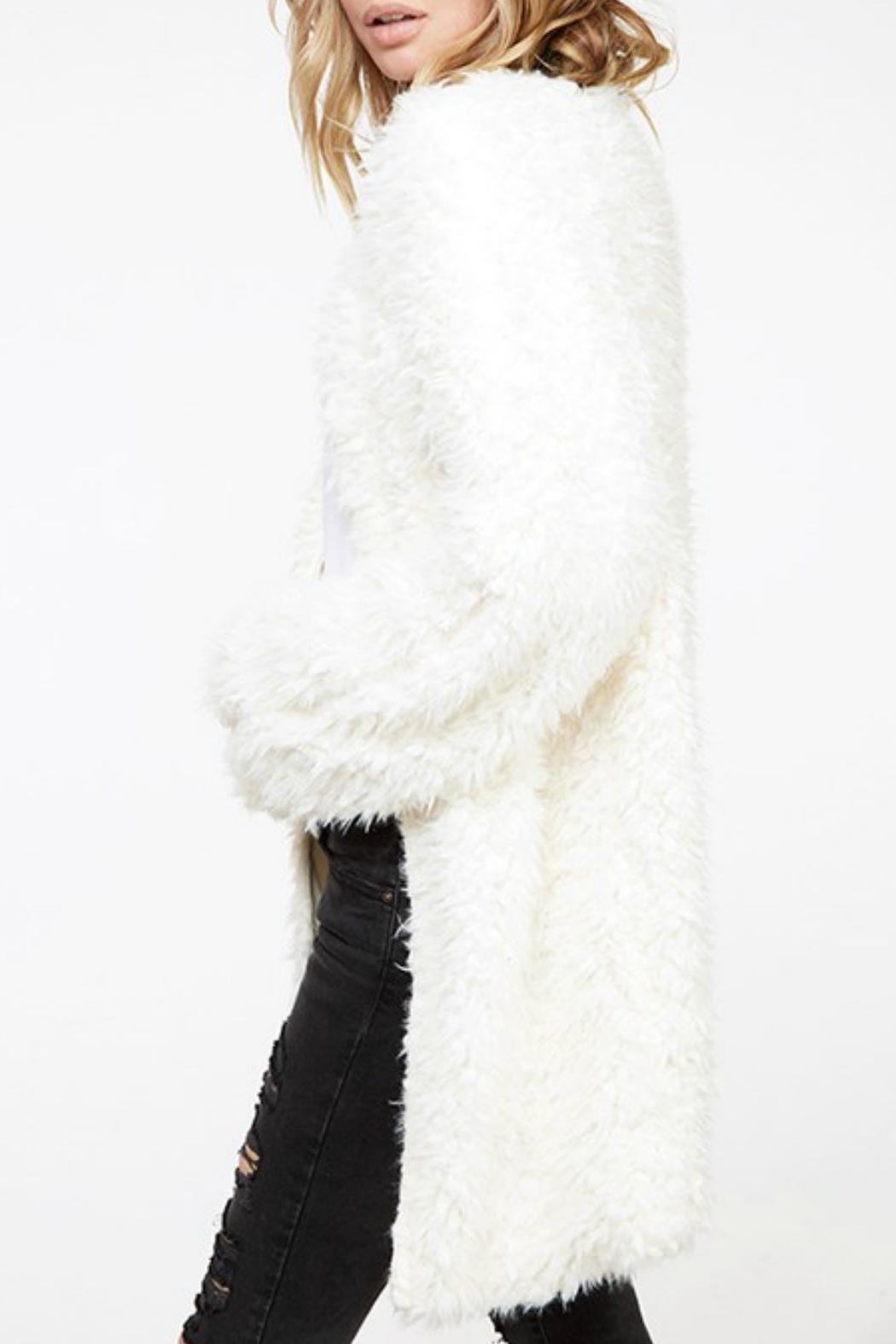 Fantastic Fawn Fuzzy Knit Coat - Side Cropped Image