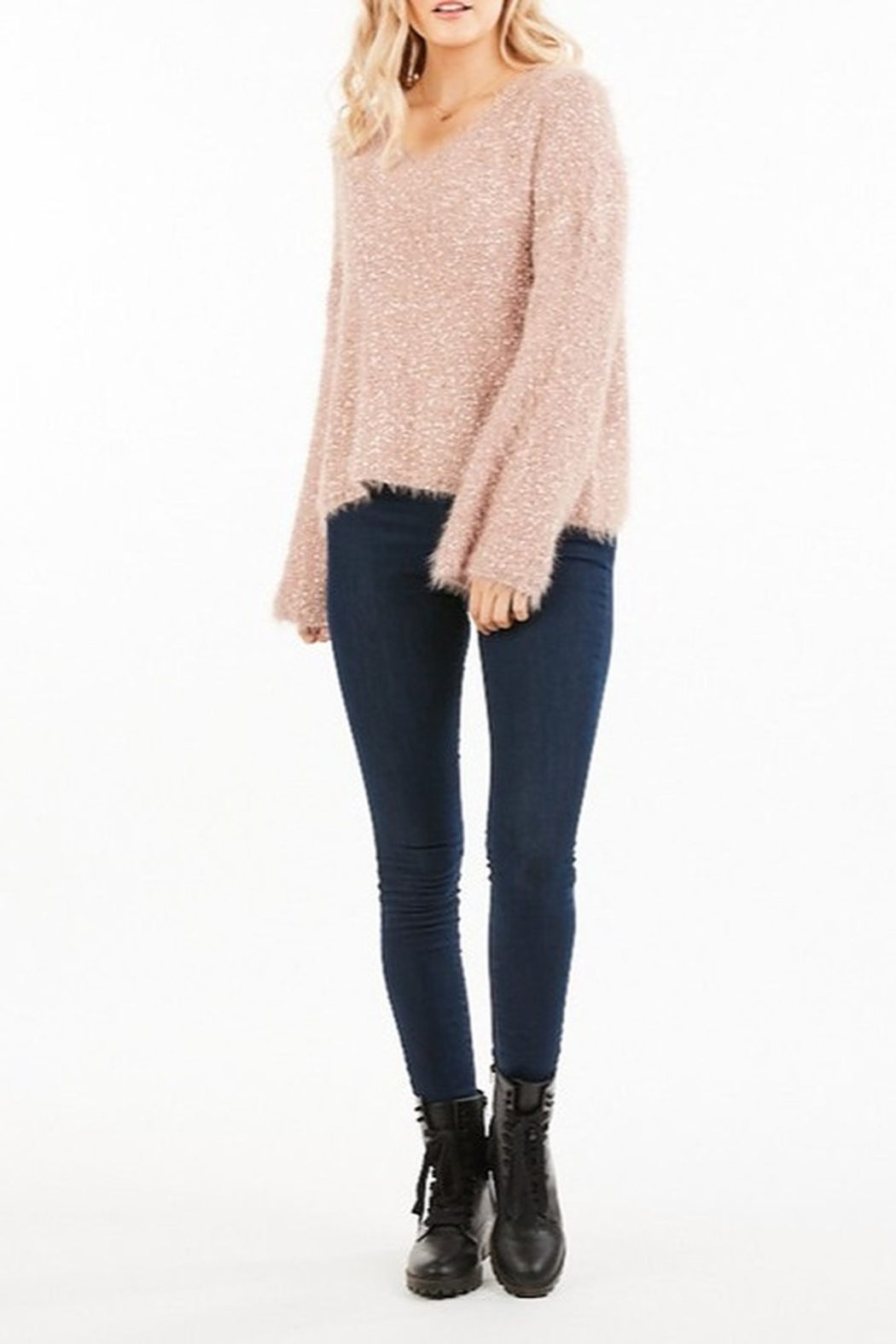 Very J  Fuzzy Knit Sweater - Side Cropped Image
