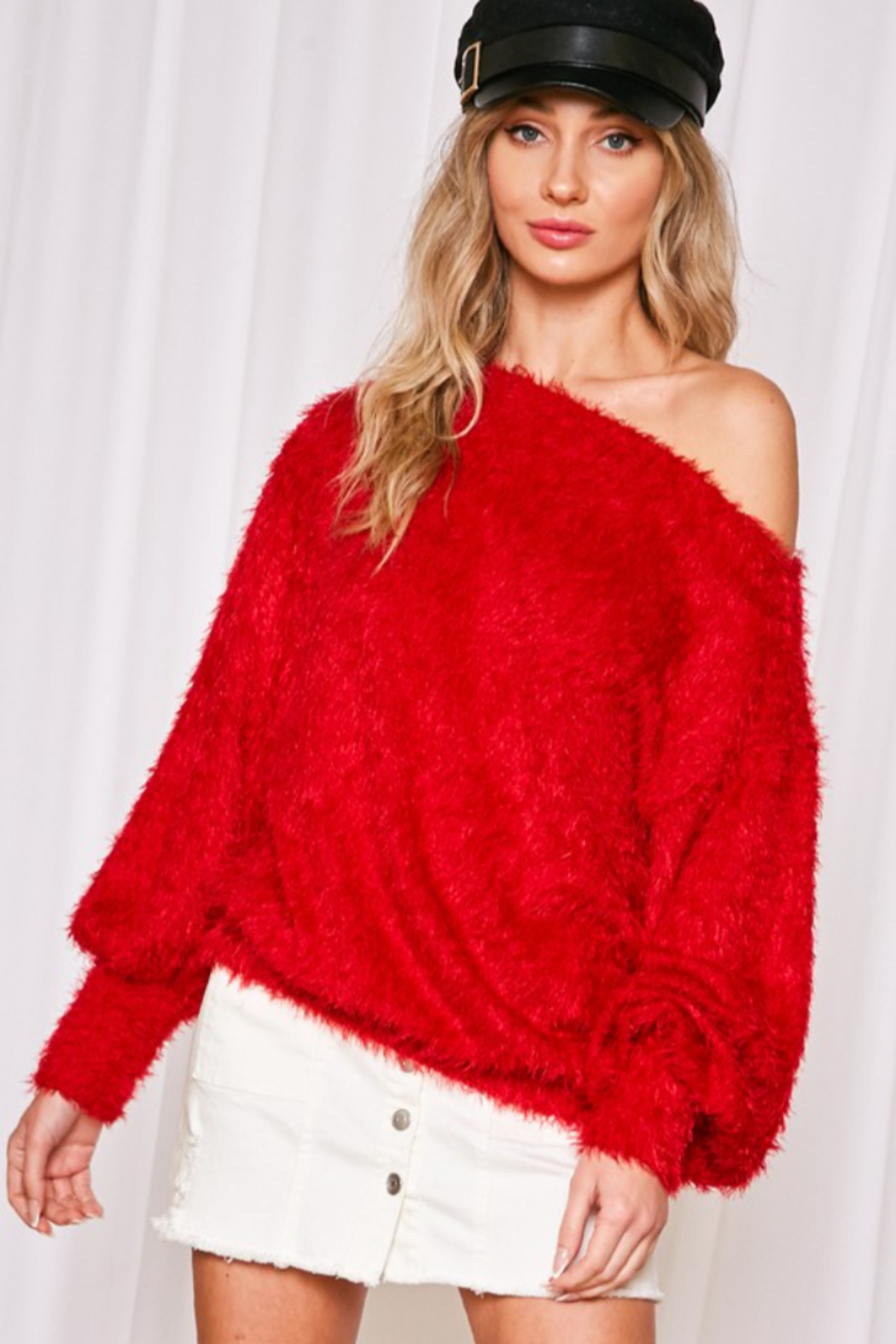 Vine & Love Fuzzy Knit Sweater - Side Cropped Image