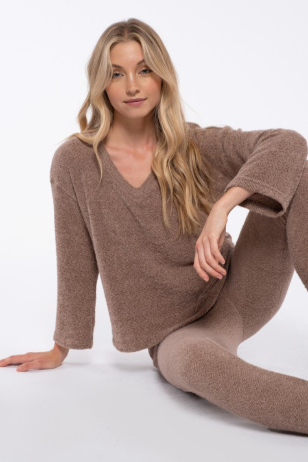 blu pepper  Fuzzy Knit Sweater - Front Full Image