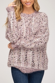 She + Sky Fuzzy Knit Sweater - Product Mini Image