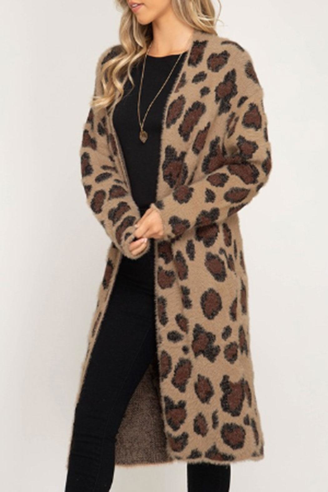 She + Sky Fuzzy Leopard Cardigan - Front Full Image