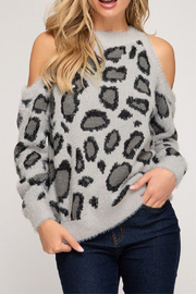 She & Sky  Fuzzy Leopard Cold Shoulder - Product Mini Image
