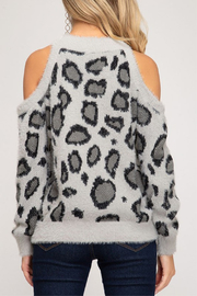 She & Sky  Fuzzy Leopard Cold Shoulder - Front full body