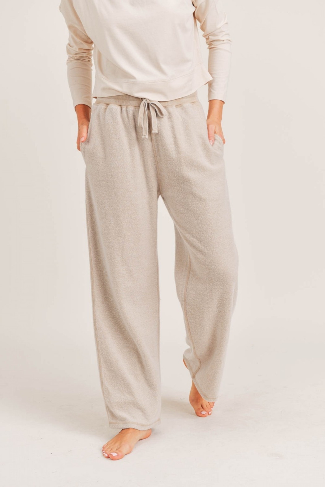 Mono B Fuzzy Mineral Washed Lounge Pants - Front Cropped Image