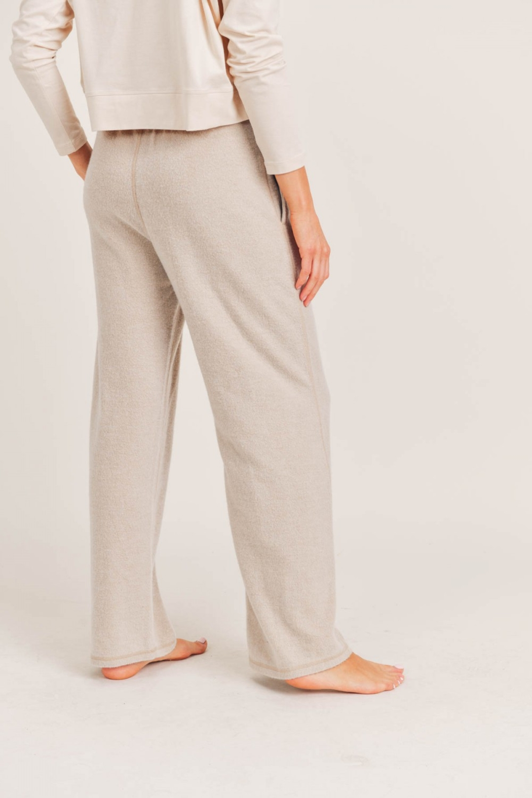 Mono B Fuzzy Mineral Washed Lounge Pants - Side Cropped Image