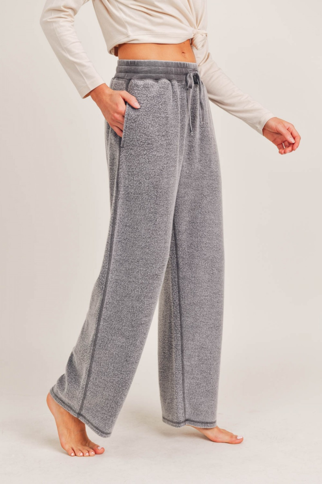 Mono B Fuzzy Mineral Washed Lounge Pants - Front Full Image