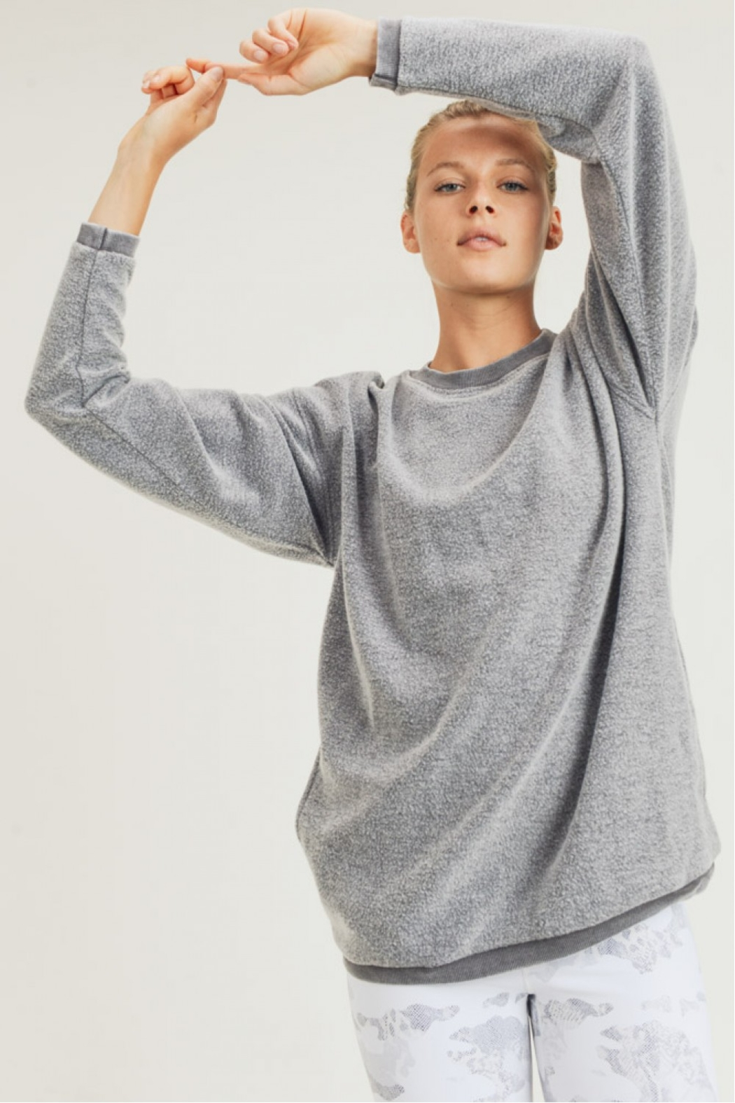 Mono B Fuzzy Mineral Washed Pullover w Pockets - Front Full Image