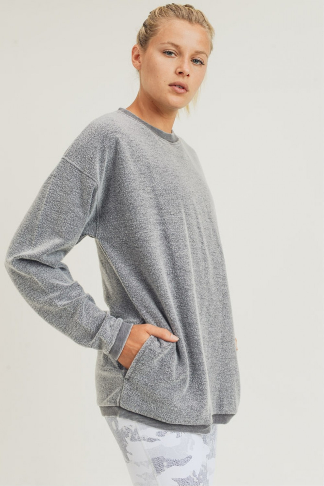 Mono B Fuzzy Mineral Washed Pullover w Pockets - Main Image