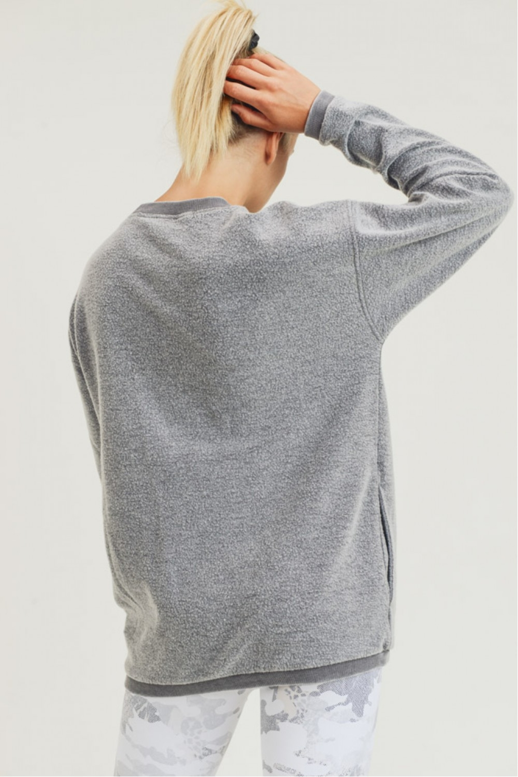 Mono B Fuzzy Mineral Washed Pullover w Pockets - Side Cropped Image