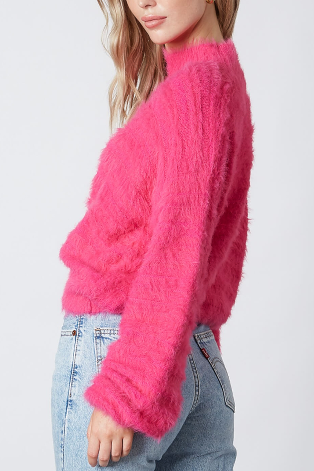 Cotton Candy  Fuzzy Mock Neck Sweater - Side Cropped Image