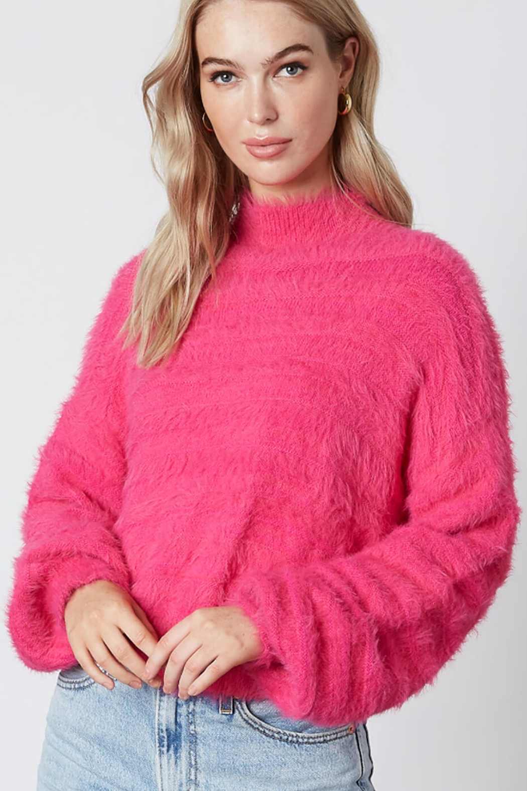 Cotton Candy  Fuzzy Mock Neck Sweater - Main Image