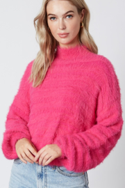Cotton Candy  Fuzzy Mock Neck Sweater - Front cropped