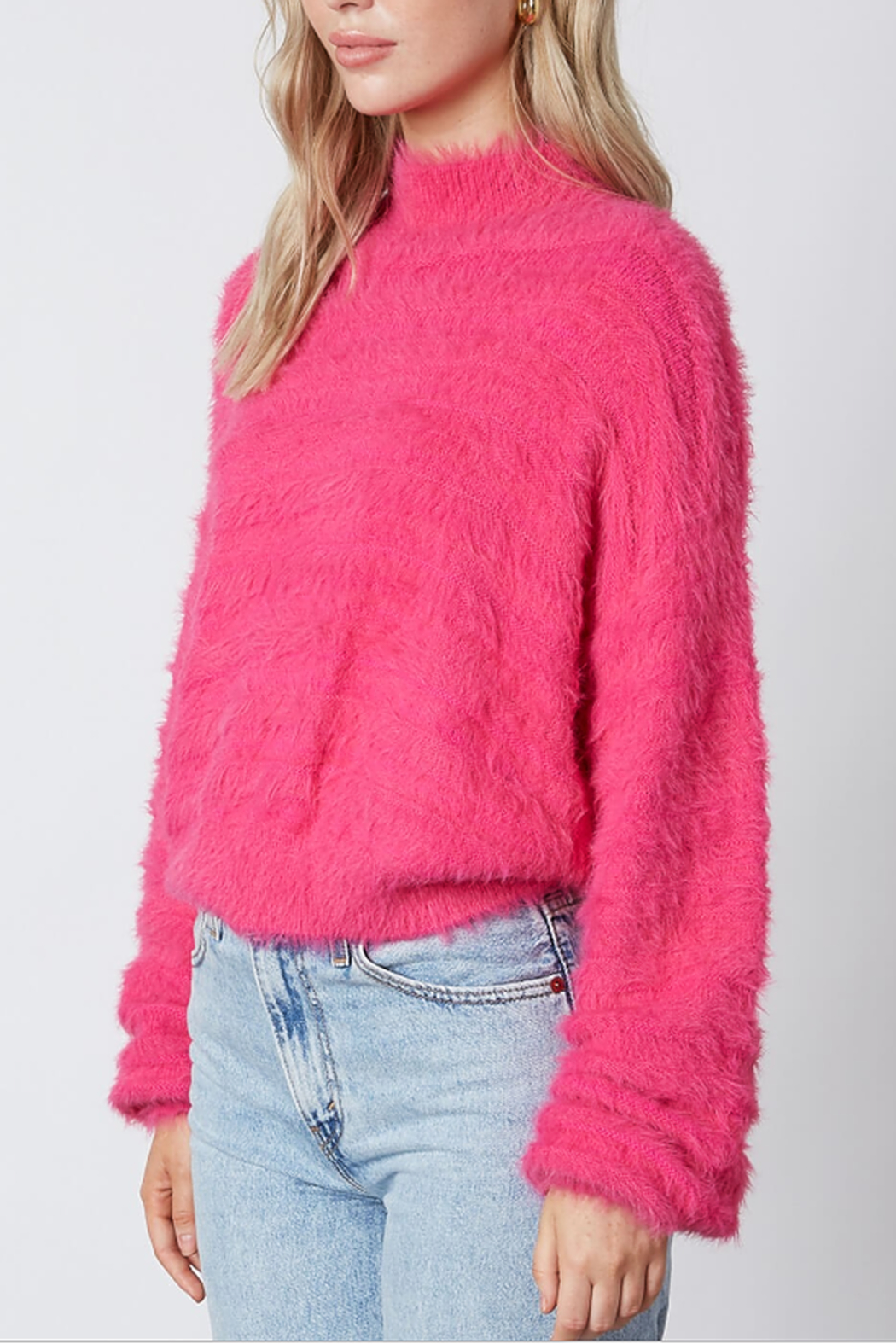 Cotton Candy  Fuzzy Mock Neck Sweater - Front Full Image