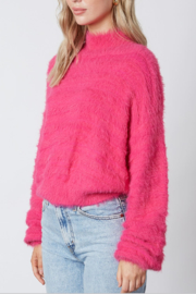 Cotton Candy  Fuzzy Mock Neck Sweater - Front full body
