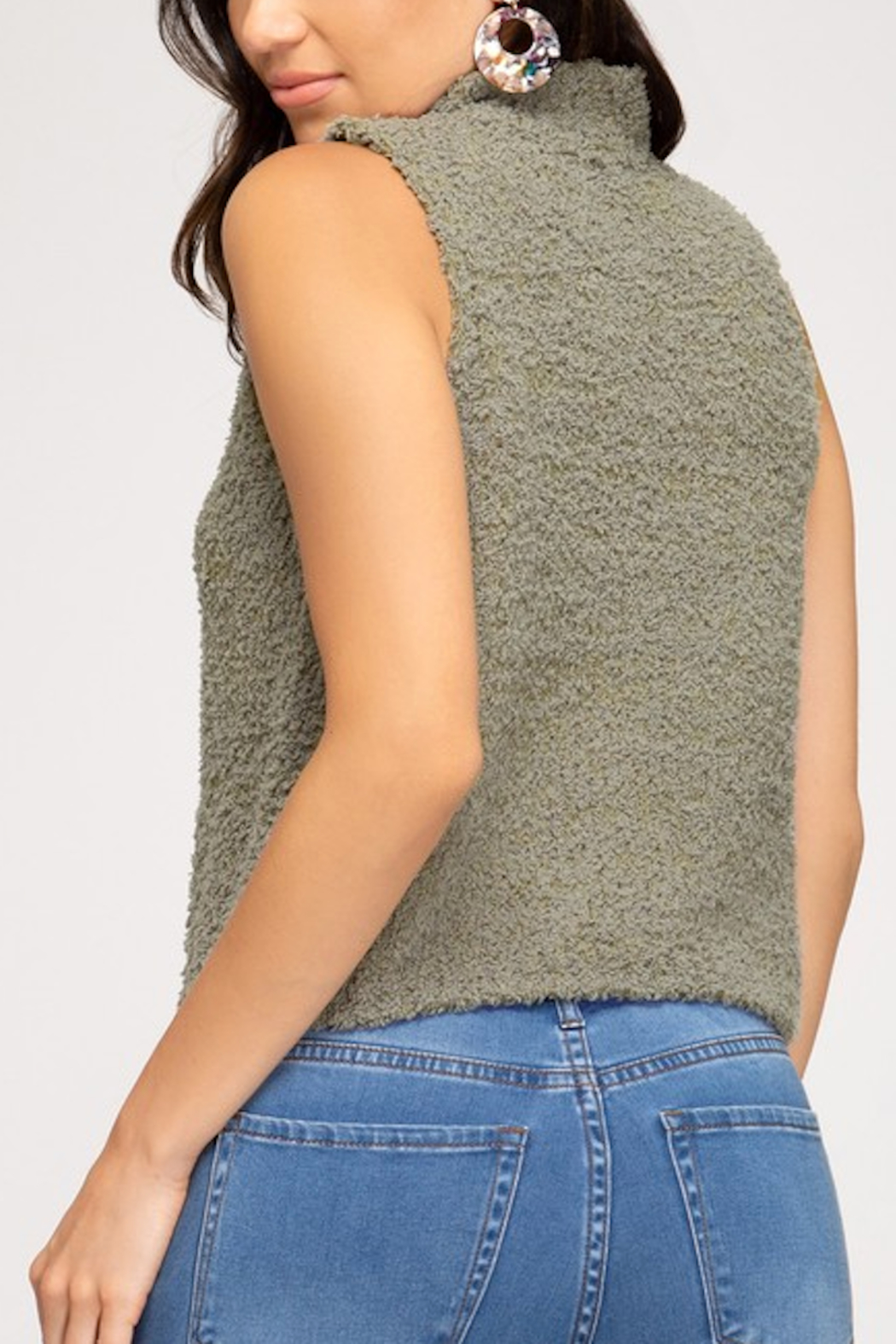 She and Sky Fuzzy Mock Neck Top - Front Full Image