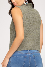 She and Sky Fuzzy Mock Neck Top - Front full body