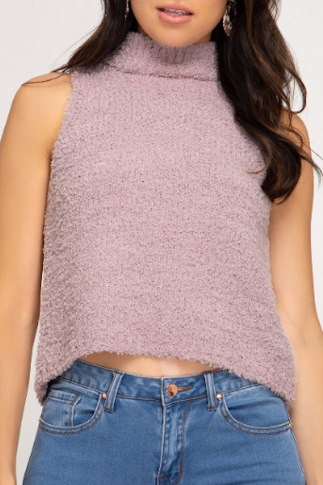 She and Sky Fuzzy Mock Neck Top - Front Cropped Image