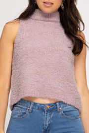 She and Sky Fuzzy Mock Neck Top - Front cropped