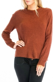 Olivaceous Fuzzy Open Back Sweater - Product Mini Image