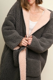 Umgee USA Fuzzy Oversized Hooded - Front cropped