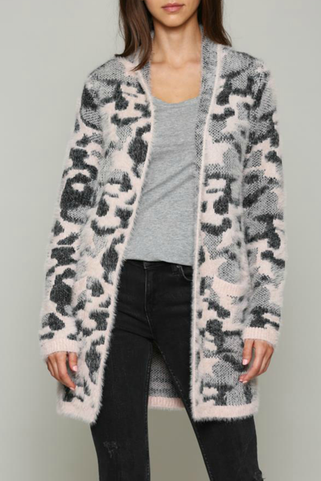 Fate Fuzzy pink leopard cardigan - Main Image