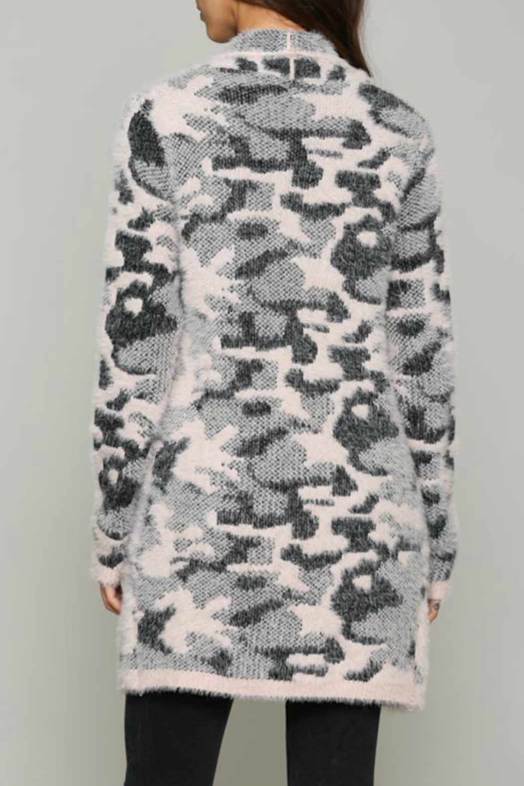 Fate Fuzzy pink leopard cardigan - Front Full Image