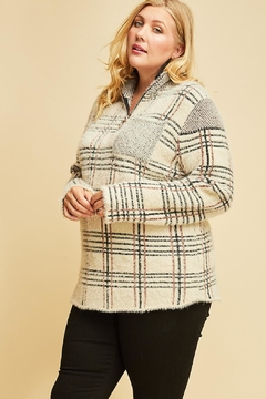 Entro Fuzzy Plaid Pullover - Product List Image