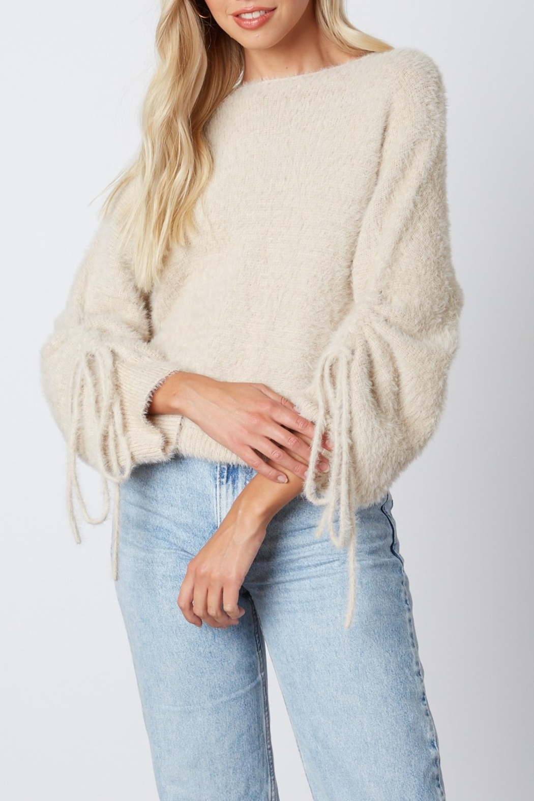 Cotton Candy  Fuzzy Pull Sleeve Sweater - Front Cropped Image