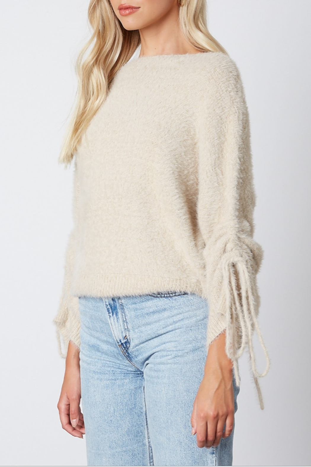 Cotton Candy  Fuzzy Pull Sleeve Sweater - Front Full Image
