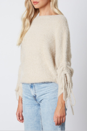 Cotton Candy  Fuzzy Pull Sleeve Sweater - Front full body