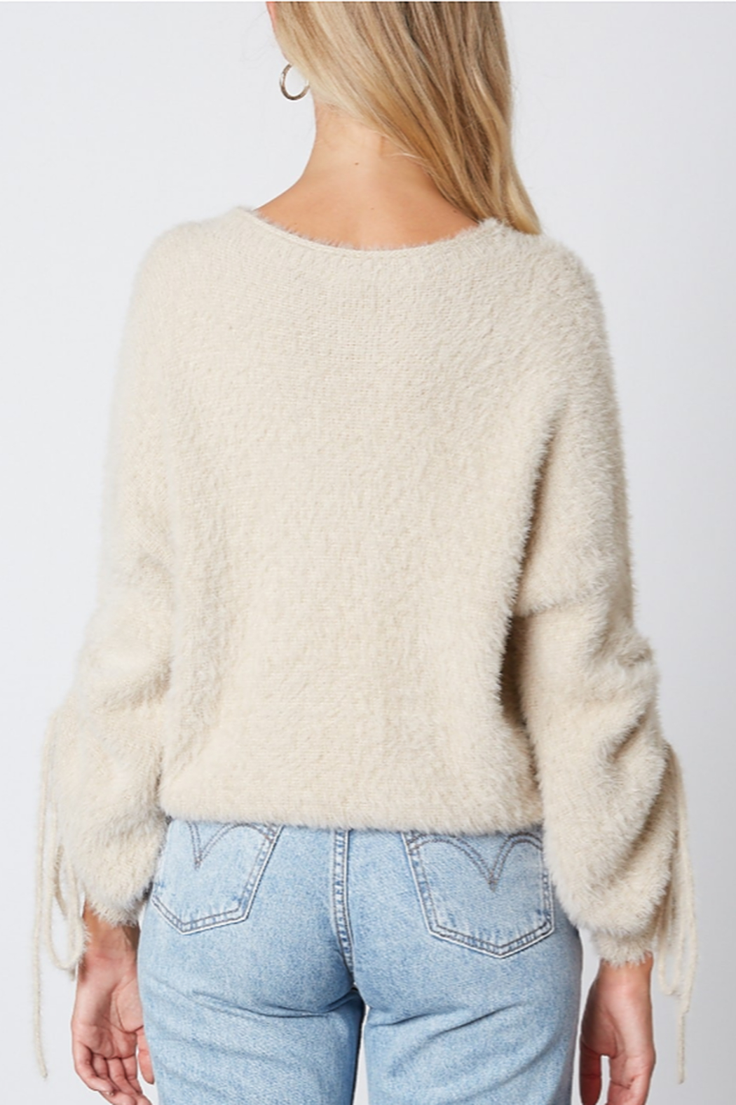 Cotton Candy  Fuzzy Pull Sleeve Sweater - Side Cropped Image