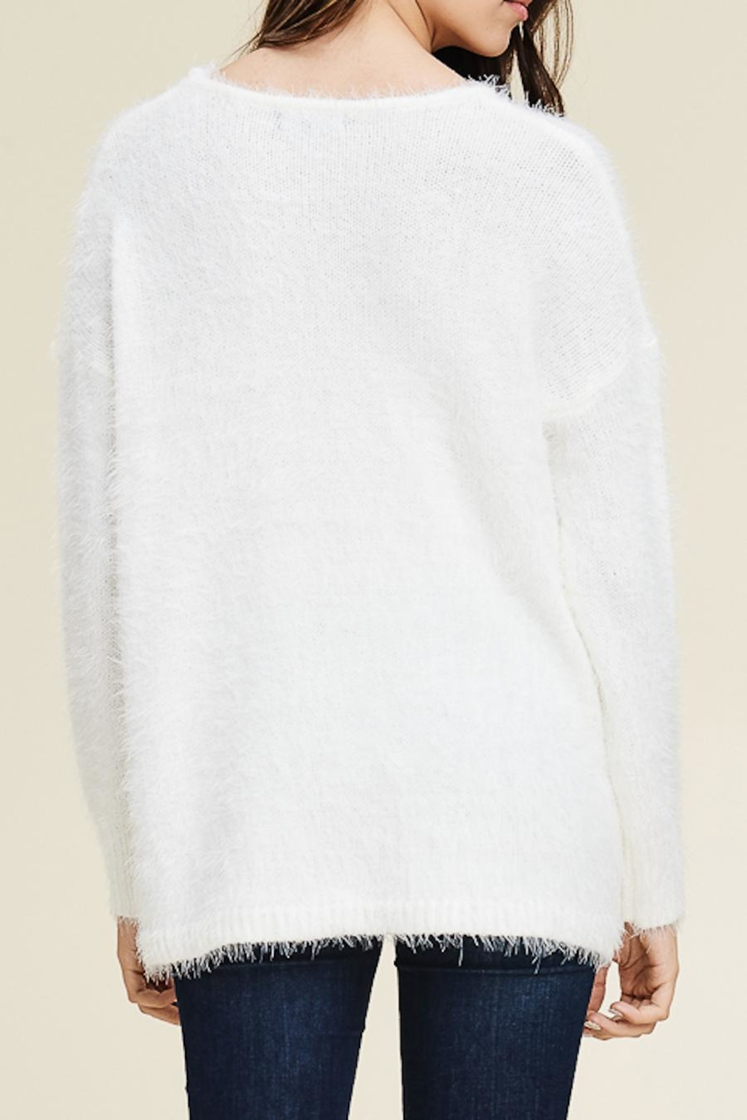 Staccato Fuzzy Pullover Sweater - Side Cropped Image