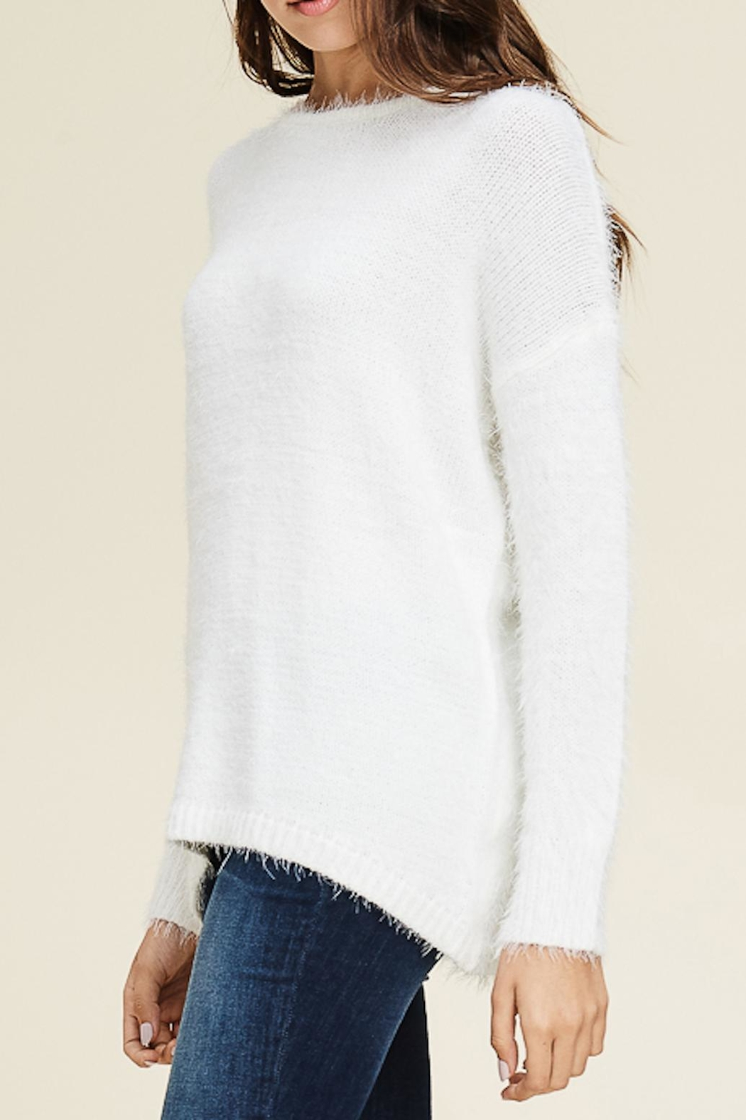 Staccato Fuzzy Pullover Sweater - Front Full Image