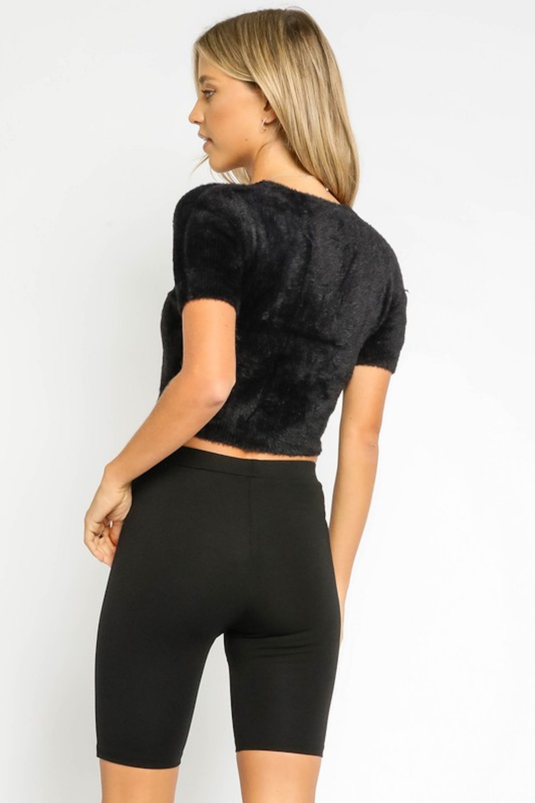 Olivaceous  Fuzzy S/S Cropped Cardi - Side Cropped Image