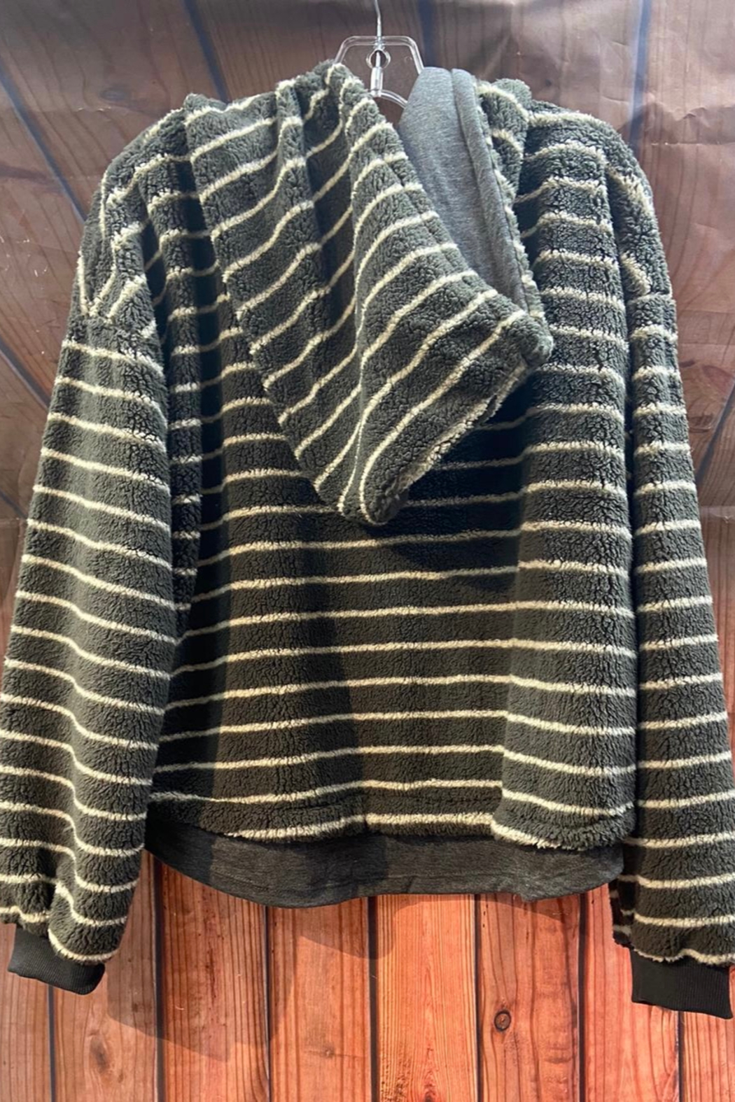 Vintage Havana Fuzzy striped Hoodie Sweater - Front Full Image