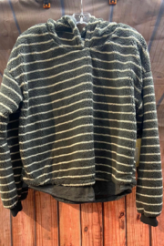 Vintage Havana Fuzzy striped Hoodie Sweater - Front cropped