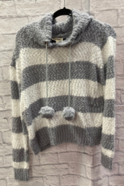 Faith Apparel Fuzzy striped hoodie sweater with pom pom - Product Mini Image