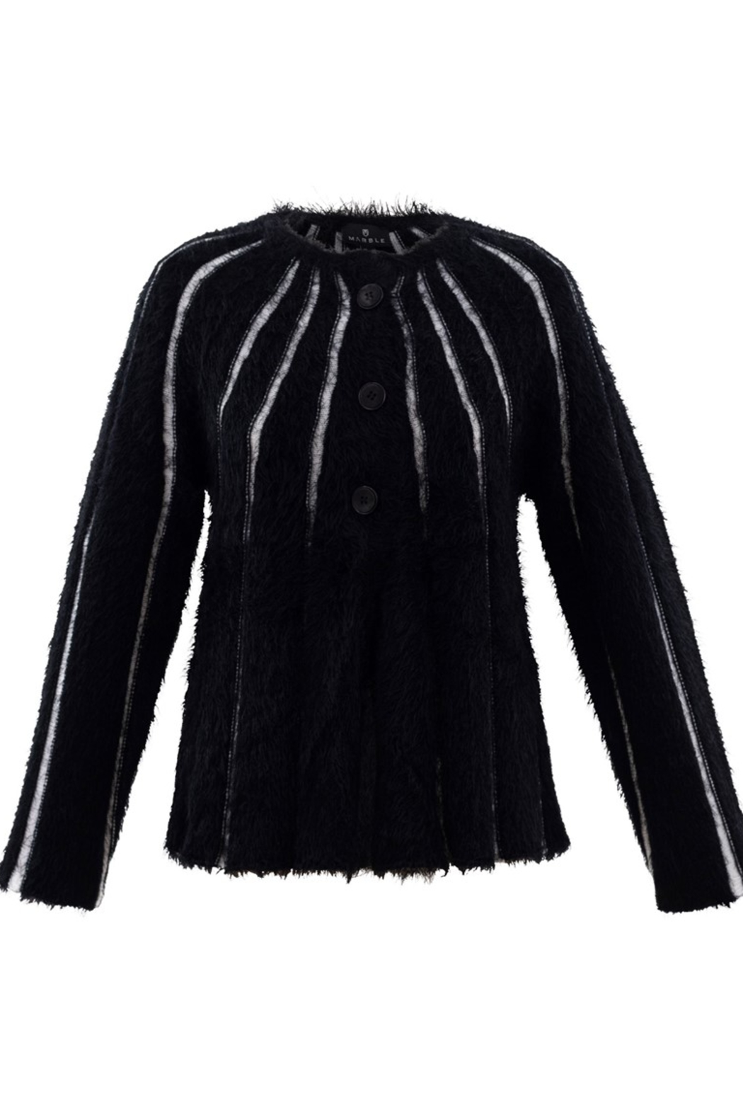 Marble Fuzzy Stripped Button Cardigan - Main Image