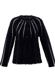 Marble Fuzzy Stripped Button Cardigan - Product Mini Image