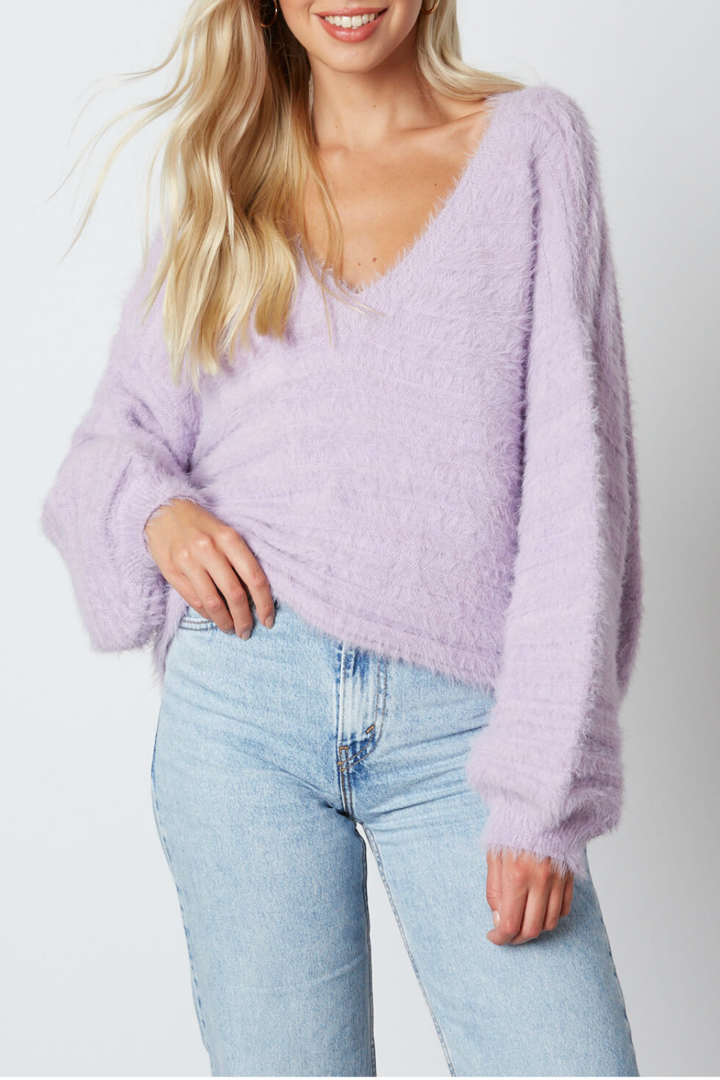 Cotton Candy LA Fuzzy sweater - Front Cropped Image