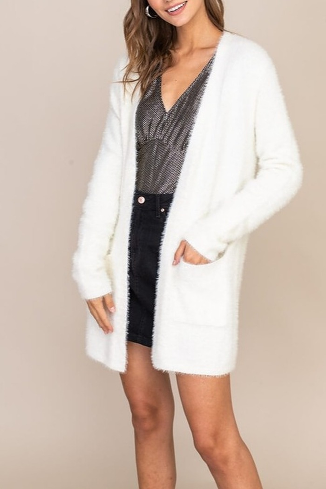 Lush  Fuzzy Sweater Cardigan - Front Cropped Image