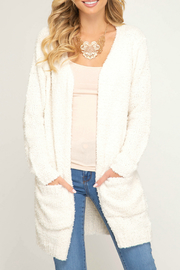 She + Sky Fuzzy Sweater Cardigan With Pockets - Product Mini Image