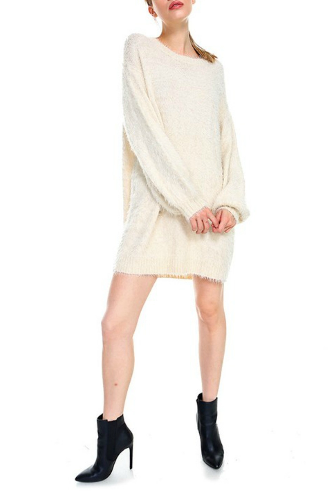 TCEC Fuzzy Sweater Dress - Back Cropped Image