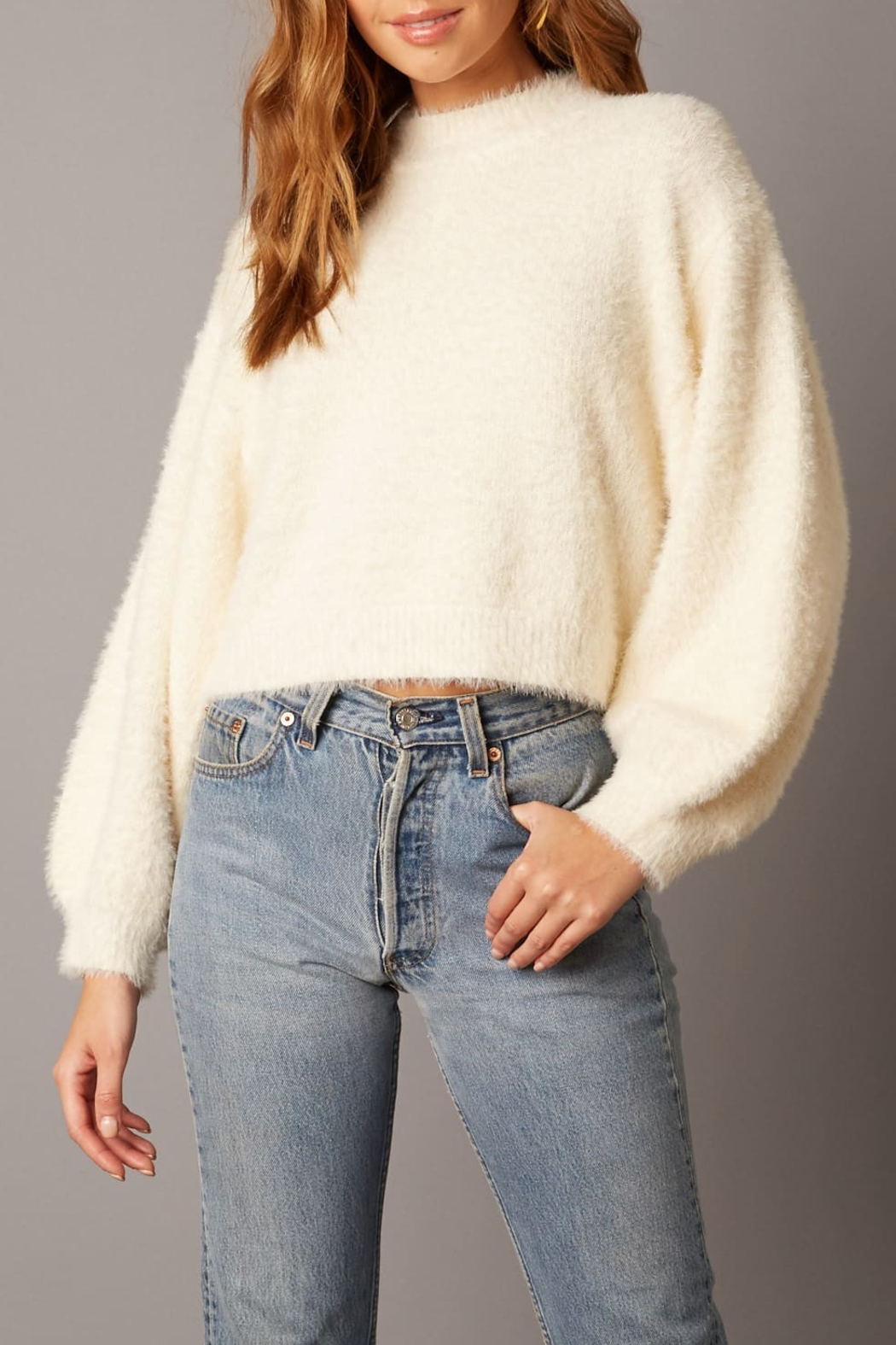 Cotton Candy LA Fuzzy Sweater Ivory - Main Image