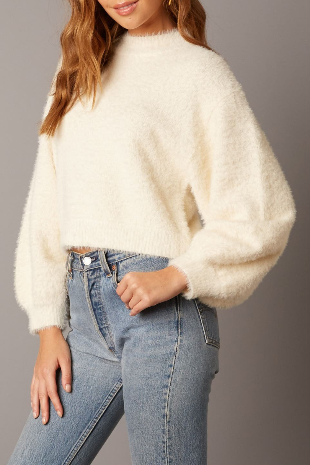 Cotton Candy LA Fuzzy Sweater Ivory - Front Full Image